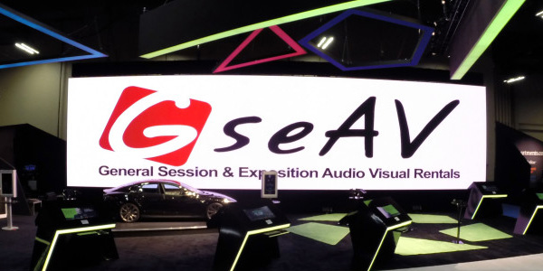 GSE Audio Visual set up of a 66′ x 16′ LED Videowall.